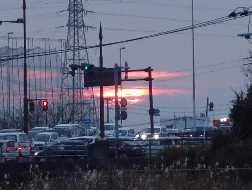 日没前の太陽